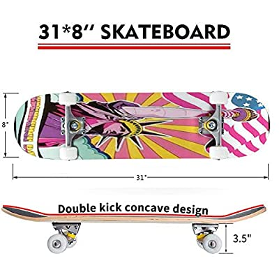 Classic Concave Skateboard Independence Day 4th of July Psychedelic Art Poster National Holiday Longboard Maple Deck Extreme Sports and Outdoors Double Kick Trick for Beginners and Professionals : Sports & Outdoors
