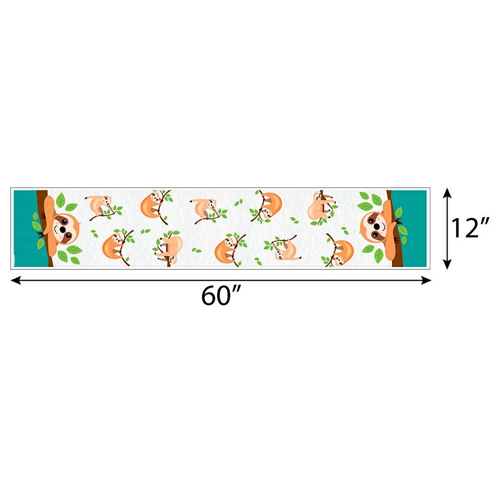 Petite Baby Shower or Birthday Party Paper Table Runner 12 x 60 Big Dot of Happiness Lets Hang Sloth