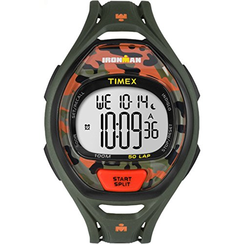 Timex Unisex TW5M01200 Ironman Sleek 50 Green/Orange Camo Resin Strap (Chrono Ladies Watch)