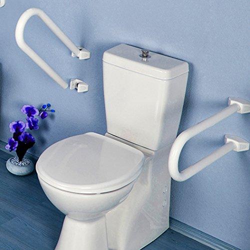 Blanc MSV 140699 Barre Toilette et Douche inclinable Aluminium//Abs