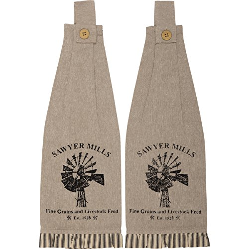 - VHC Brands Farmhouse Housewarming Tabletop Miller Farm Charcoal Windmill Fabric Loop Cotton Stenciled Chambray Graphic/Print Kitchen Towel Set of 2, One Size, Khaki Tan