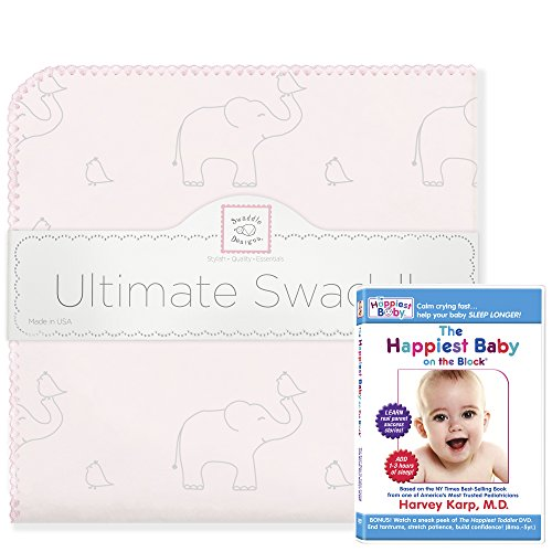 SwaddleDesigns Ultimate Swaddle (Mom's Choice Award Winner) and The Happiest Baby on The Block DVD Bundle, Sterling Deco Elephant, Sunwashed Pink ()