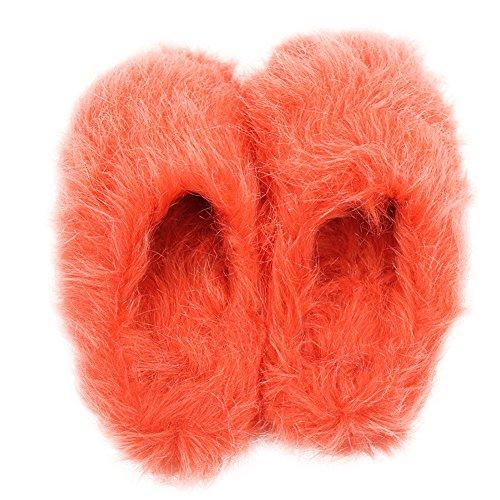 Home Pantoffel Womens Warme Schattige Lange Fleece Pluche Indoor Huis Spa Slippers Klompen Rood Oranje