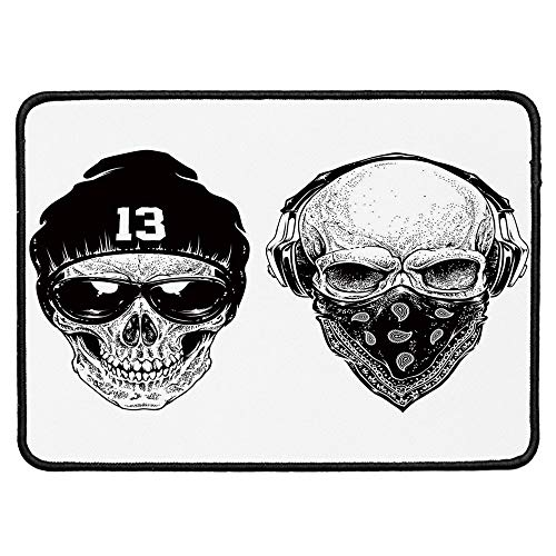 Skull Ordinary Mouse Pad,Funny Skull Band Dead Street Gangs with Bandanna Hood Rapper Style Grunge Print Decorative for Computers Laptop Office & Home,9.84''Wx11.81''Lx0.12''H