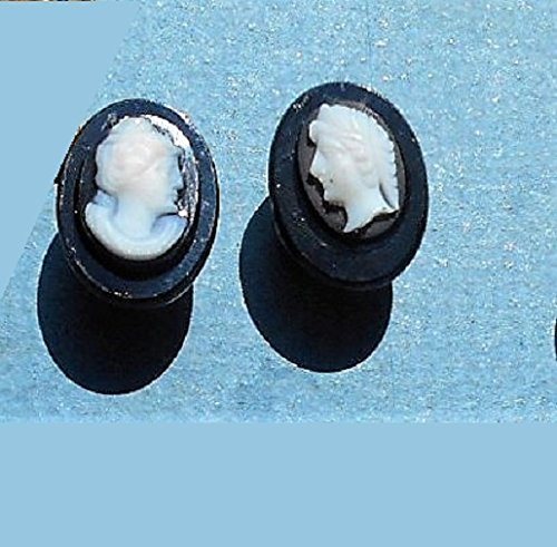 1940s Black Sardonyx CAMEO CUFF LINKS, on Black Onyx Ovals with Copper Metal Connectors.
