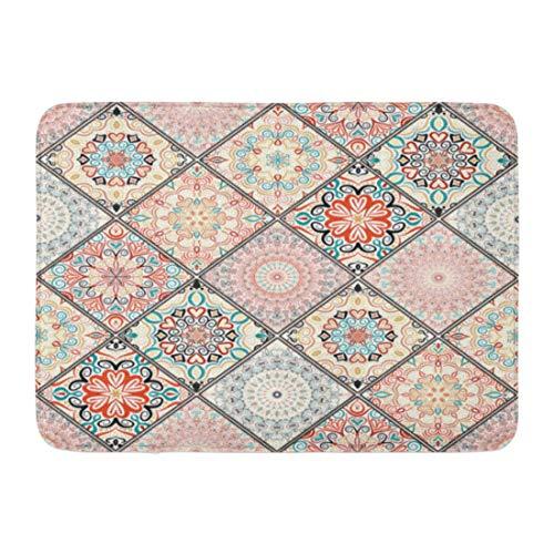 (Emvency Doormats Bath Rugs Outdoor/Indoor Door Mat Luxury Oriental Colorful Floral Patchwork Mandala Boho Chic Rich Flower Portuguese Moroccan Unusual Bathroom Decor Rug Bath Mat 16