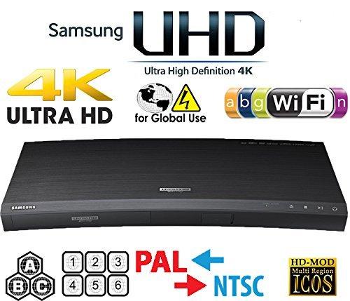 (SAMSUNG M9500 UHD - Wi-Fi - Dual HDMI - 2K/4K - Region Free Blu Ray Disc DVD Player - PAL/NTSC - USB - 100-240V 50/60Hz for World-Wide Use & 6 Feet Multi System 4K HDMI Cable)