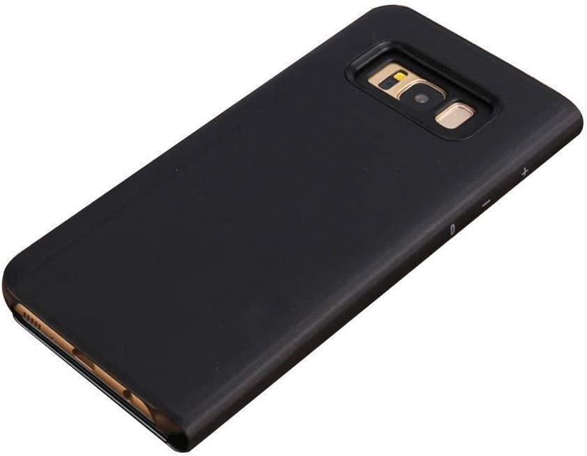Ostop Compatible avec Coque Samsung Galaxy S8,/Étui /à Rabat Miroir Transparent Ultra Mince en Cuir avec Fonction Support Housse Protection Antichoc en PC Dur Avant et Arri/ère,Bleu
