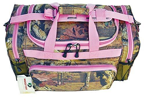 Mossy Oak Camouflage Print Designer Duffel Bag Pink Trim