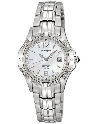 Seiko Coutura Diamond Quartz Stainless Steel Mother-Of-Pearl Dial Watch (Coutura Mother Of Pearl Dial)