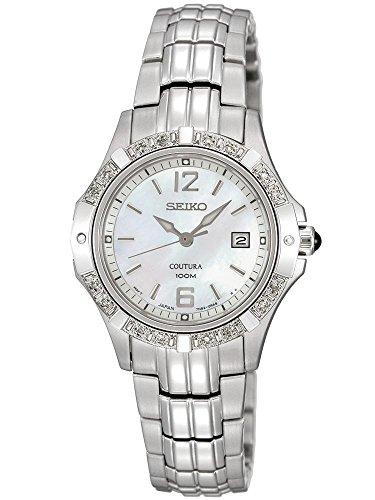 Seiko Coutura Diamond Quartz Stainless Steel Mother-Of-Pearl Dial Watch (Coutura Mother Of Pearl Dial)
