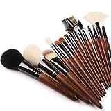 organic airbrush makeup - ZOREYA(TM) Makeup Brushes 15pc High End Real Walnut Handle Makeup Brush Set- with Free Dark Brown Leather Brush Case Bag Holder With Angled Contour Brush Lip EyeShadow Powder Fan Brushes