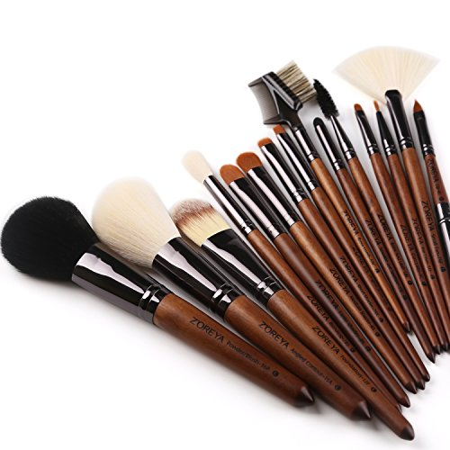 ZOREYA(TM) Makeup Brushes 15pc High End Real Walnut Handle Makeup Brush Set- with Free Dark Brown Leather Brush Case Bag Holder With Angled Contour Brush Lip EyeShadow Powder Fan Brushes - Animal Free Makeup Brush Powder