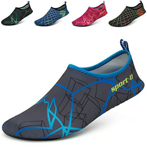 CASMAG Männer Frauen Quick-Dry Wasser Schuhe Barfüßig Aqua Socken Für Yoga Strand Schwimmen Pool Übung Surf Blau grau