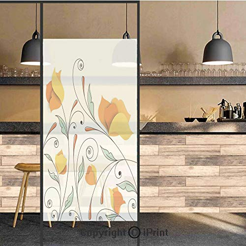 3D Decorative Privacy Window Films,Bouquet with Swirled Branches Romantic Paper Flowers Origami Autumn Blooms Image,No-Glue Self Static Cling Glass Film for Home Bedroom Bathroom Kitchen Office 24x71
