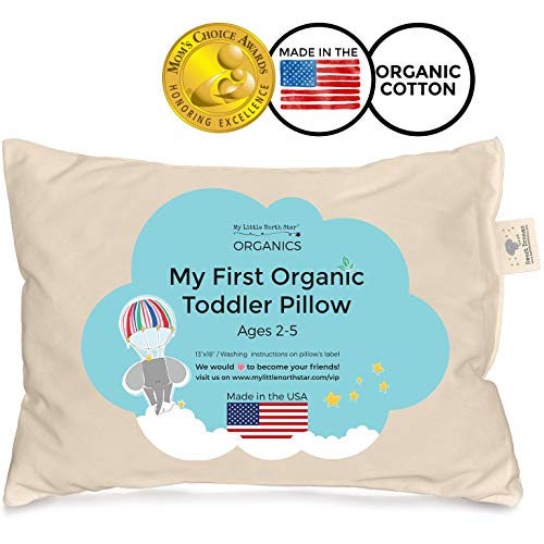 Toddler Pillow - Organic Cotton Made in USA - Washable Unisex Kids Pillow - 13X18 -
