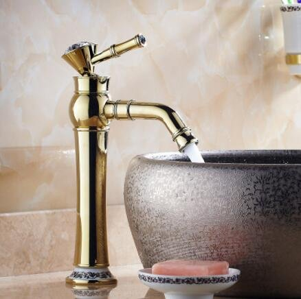 gold L U-Enjoy Fashion Good Plating Top Quality Total Brass Material Hot and Cold Single Lever Bathroom Mixer Sink Faucet (pink gold L)