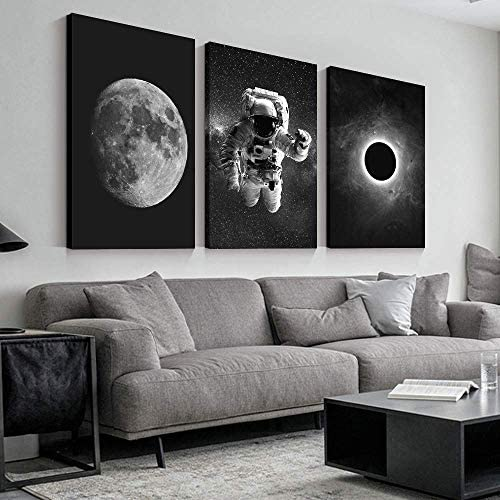 3 Panel Astronaut Grand Eclipse Moon Kids Painting Wall Decor for Living Room Framed x 3 Panels