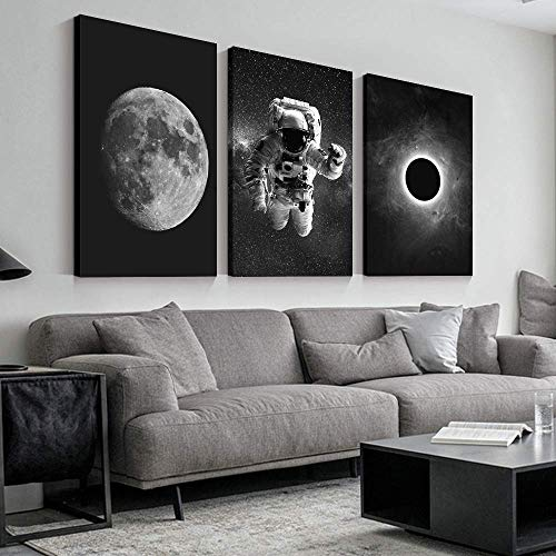 """SIGNFORD 3 Panel Canvas Wall Art Astronaut Grand Eclipse Moon Kids Canvas Painting Wall Decor for Living Room Framed Home Decorations - 16""""x24"""" x 3 Panels"""