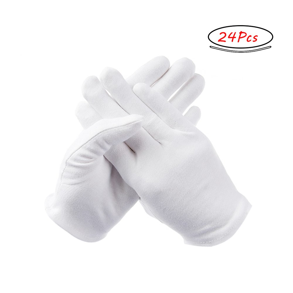 12 Pairs Large White Cotton Gloves for Cosmetic Moisturizing and Coin Jewelry Silver Inspection