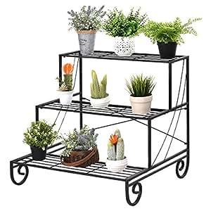 Giantex 3Tier estante de soporte de plantas flores maceta pantalla soporte Rack, negro
