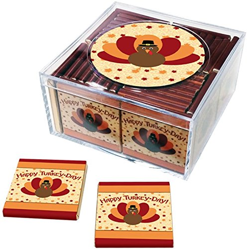 Thanksgiving Favors. Keepsake Box of 36 Belgian Chocolates for Your Thanksgiving Celebration (Design: Turkey - Chocolate Turkey
