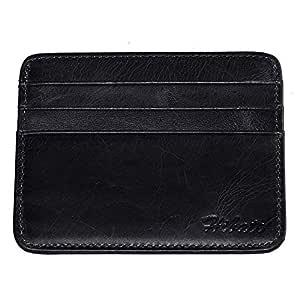 Hibate Vintage-Style Slim Leather Credit Card Holder Front Pocket Case for Men Women Bag Wallet - Black