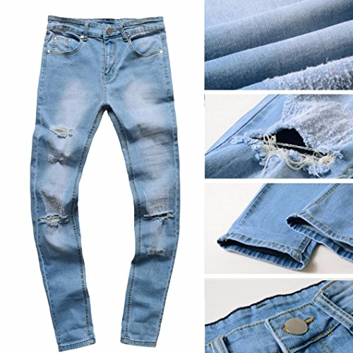 4824d0ef96d1c 60%OFF Wqueen 2018 Fashion Men s Jeans Hole Wrinkle Ripped Slim Fit  Motorcycle Vintage Denim