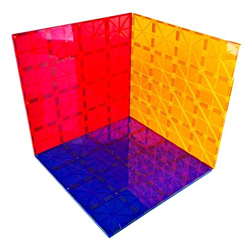 Mag-genius Magnet Tiles Super Big Magnet Toy Building Toy Board Size of 16 Mag-Genius Magnet Tiles 3 Different Colors Stabilizer 12 X 12 Magnet Plates Compaible With Any Other Brand