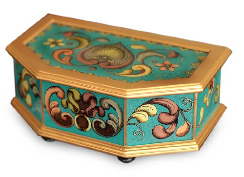 NOVICA Reverse Painted Glass and Wood Decorative Box, Multicolor 'Precious - Reverse Nat