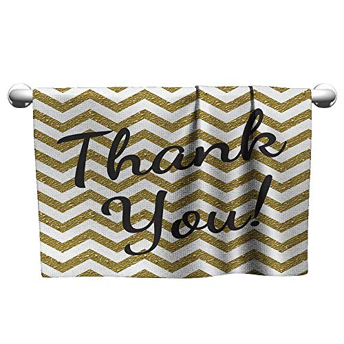 Bensonsve Modern,Geometric Zig Zag Colored Little Stones Like Stripes with Thank You Quote,Charcoal Grey Gold,Hooded Towel for Girls
