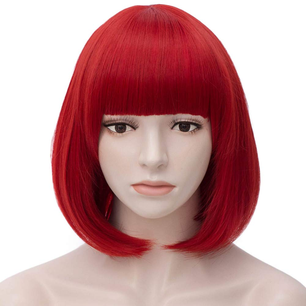 Short Bob Wigs Black Wig for Women with Bangs Straight Synthetic Wig Natural As Real Hair 12'' BU027BK LUCKY-GIRLS A-BU027BK
