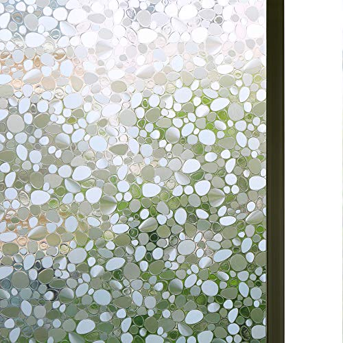 Bloss Cobblestone Embossed Stained Window Film Static Cling Film Etched Opaque Privacy Film for Home/Bathroom Window Decor, 17.7
