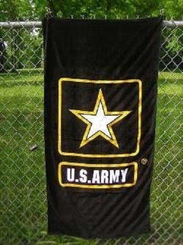 US Army Emblem Logo Beach Towel 30 x 60 (Cotton Twill) (Licensed by ARMY) by Ant Enterprises