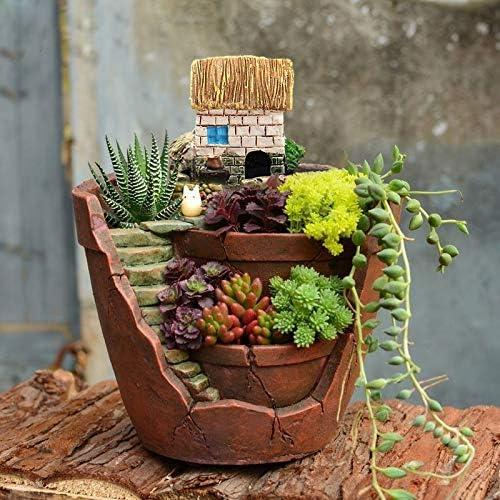TOLOVI: maceta de flores de resina con diseño vintage para plantas suculentas, maceta de flores de paisaje pequeño, decoración para el hogar y el jardín: Amazon.es: Jardín