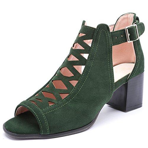 ODEMA Women's Peep Toe Gladiator Chunky Heels Pumps Ankle Bootie Platform Sandals Green