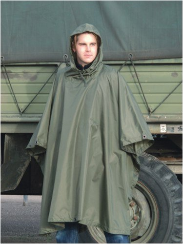- Men's US Waterproof Ripstop Hooded Nylon Festival Poncho in Olive Green