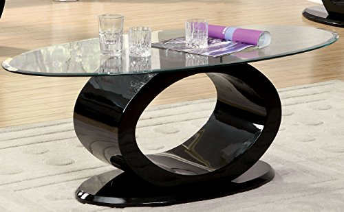 Furniture of America IDF-4825BK-C Contemporary Glass Top Coffee Table, 54' x...