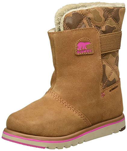 (Sorel Girls' Youth Rylee Camo Mid Calf Boot, Elk/Pink Ice, 4 M US Big Kid)