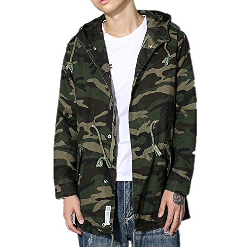 Allonly Men's Fashion Zip Button Windbreaker Casual Camouflage Jacket Overcoat (Marty Mcfly Outfit)