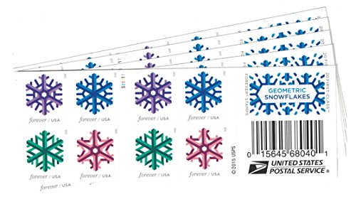 Geometric Snowflakes USPS Forever Stamps 100 Stamps (5 Books of - Postage Snow