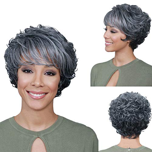 Short Silver Gray Synthetic Wigs Fluffy Little Curly Wavy Mom Grey Costume Wigs For Old Middle Age Women Office Lady (Gray) -