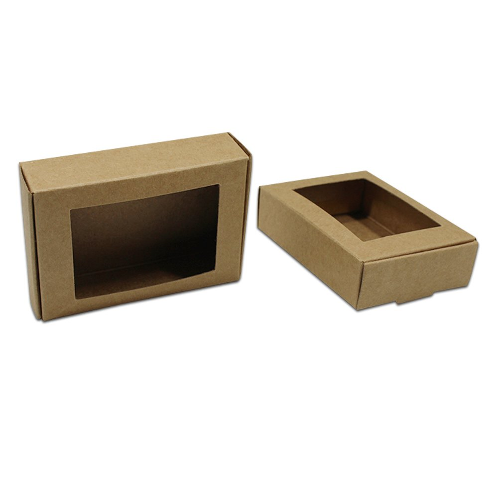 3.3x2.4x0.9 inch 50 Pcs Square Hollow Shape Kraft Paper Party Supplies Packaging Boxes Small Gift Craft Paper Foldable Take Out Retail Containers Event Display Bracelets Necklace Cards Wrapping Box
