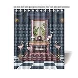 Unique Debora Custom Bath Decorator Bathroom Accessories Shower Curtain Bath Curtain for Fantasy Fireplace And Flamingos