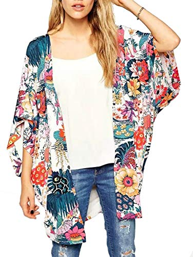 RJXDLT Womens Floral Print Kimono Cardigan Loose Puff Sleeve Cardigans Lace Patchwork Cover Up Blouse Top Multicolor M - Sleeve Floral Print Top
