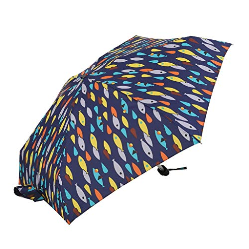 Honestyivan Printed Five-Fold Ultralight Sun&Rain Umbrella Foldable Portable Pocket Umbrella Mini -