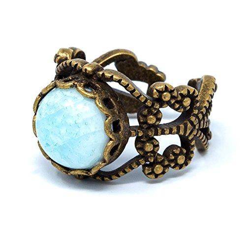 - I's Fashion Vintage Style Antique Brass Light Blue Porcelain Round Bead Women's Adjustable Ring