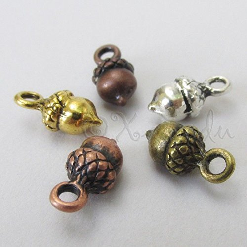 OutletBestSelling Pendants Beads Bracelet Acorn Charms Mix - 14mm Gold Silver Bronze Copper Acorns 10pcs