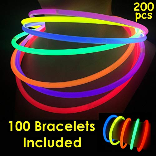 "100 Glow Sticks Bulk Wholesale Necklaces, 22"" Glow Stick Necklaces+100 Free Glow Bracelets! Bright Colors Glow 8-12 Hr, Connector Pre-Attached(Handy), Superior Glow Necklaces, GlowWithUs -"