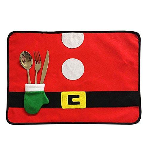 FrbelleEc Weihnachtsdeko 4pcs Tischsets Tisch Matte Weihnachten Geschirr Halten Tischsets Weihnachten Dekorationen 4*Platzsets mit Besteckhalter